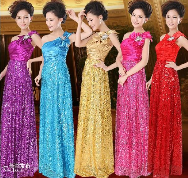 Вечерние платья Золото блестками одно плечо тонкие длинные платья, Свадебные платья подружек невесты производительности производительности платье скидки новый 2013