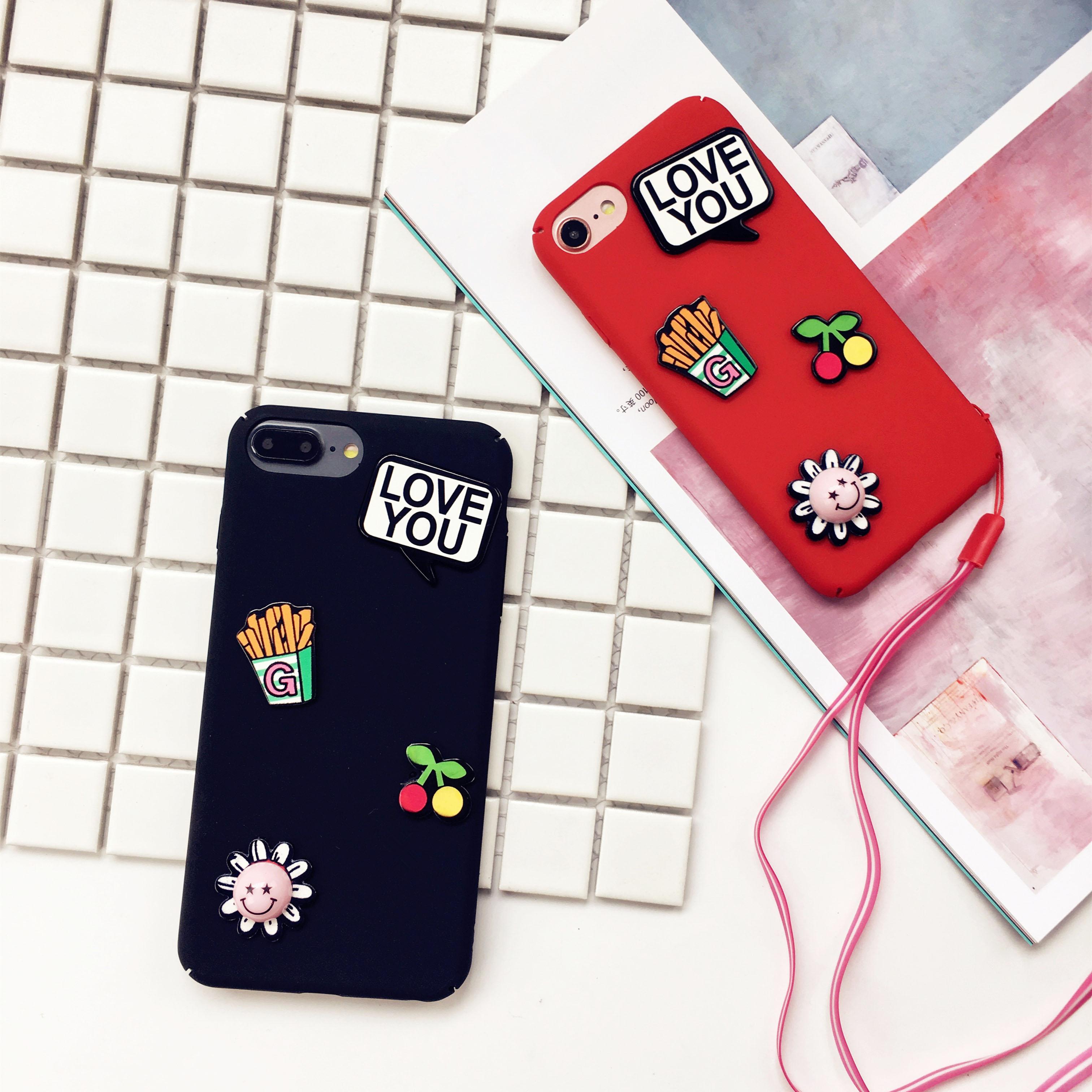 日韩笑脸薯条iphone6s手机壳防摔苹果7全包磨砂硬壳7plus挂绳套潮