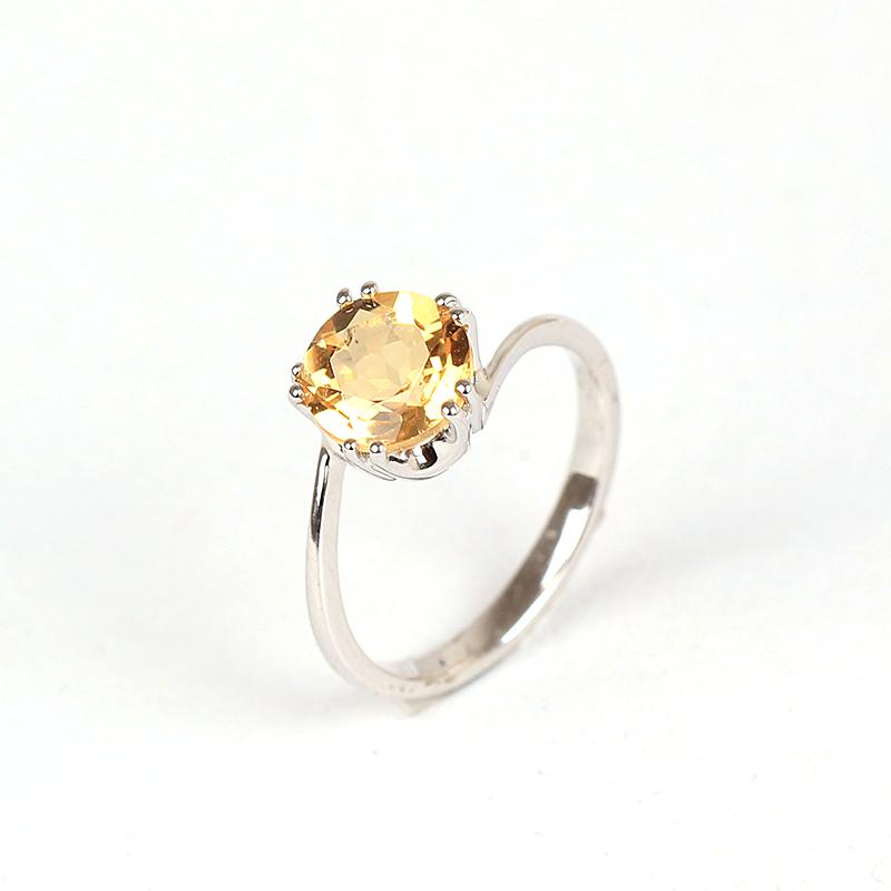 925纯银镀铂金天然黄水晶戒指时尚饰品女款彩色宝石戒指超强火彩