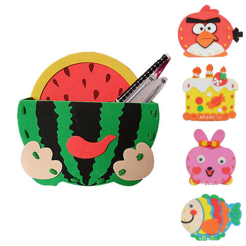 eva笔筒立体贴画 diy手工制作 益智儿童玩具图片