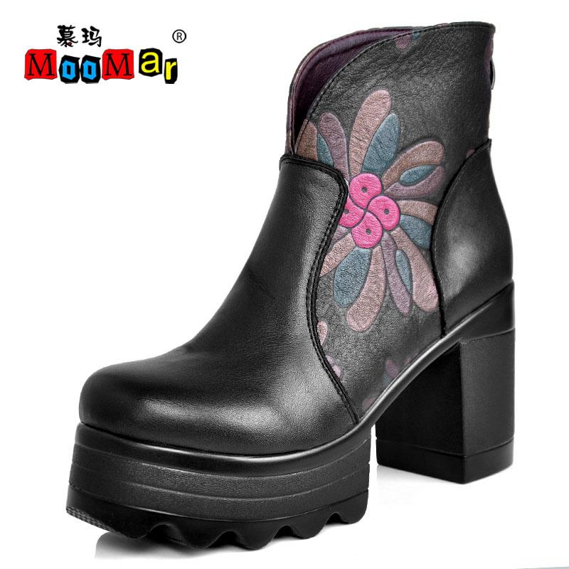 慕玛/慕玛民族风印花朵粗跟超高跟厚底防水台棉鞋牛皮女靴子真皮短靴