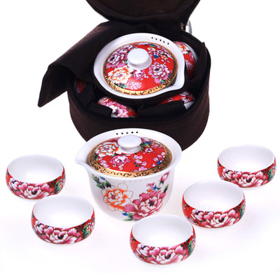 Taiwan should be dragon eilong travel kung fu tea set suit portable ceramic cups gift boxes sale bag mail