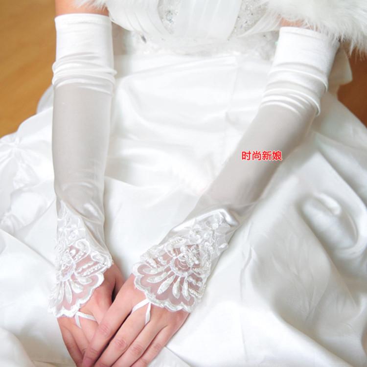Свадебные перчатки Добавить длинные белые перчатки невесты Свадебные аксессуары для новобрачных относится к Stretch атласные перчатки оптом st07