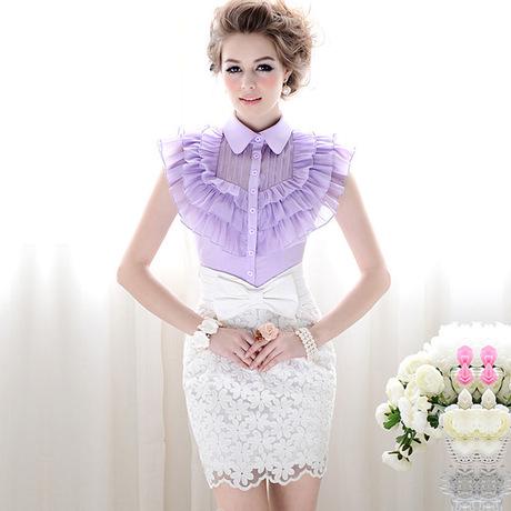 2014粉红大布娃娃夏装正品镶拼多层荷叶边修身女装衬衫商品大图