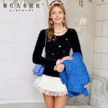 粉红大布娃娃韩版春装新款女装通勤淑女修身套头长袖上衣图片