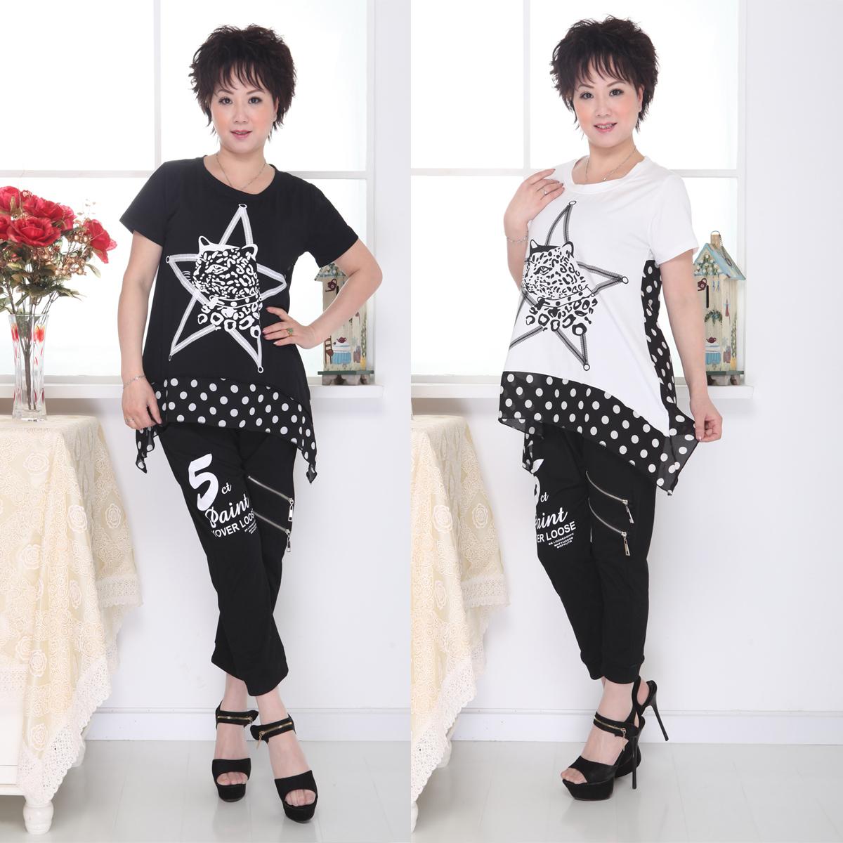 2013夏季新款时尚妈妈装宽松大码短袖t恤 潮纯棉印花短袖上衣
