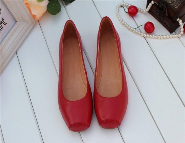 经典简约 方头鞋 黑色 红色 牛皮 真皮底 平底单鞋 跳舞鞋 婚鞋