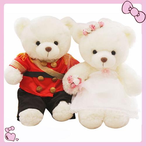 情侣婚纱泰迪熊公仔大号婚庆新婚压床布娃娃一对毛绒玩具结婚礼物