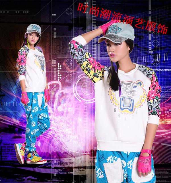 Национальный  костюм Танец большой моде граффити хип-хоп хип-хоп хип-хоп штаны сыпучих женщин джаз стадии спортивные DS производительности одежда