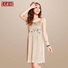 Aibei Yi 2013 summer new waist was thin chiffon shirt dress Women's Dress Casual Chiffon Skirt