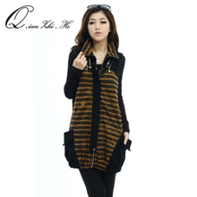 He fiber spring new large size women's loose long section of thin stripes vest jacket sleeveless