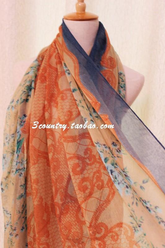 шарф Внешней торговли оригинальный Дэм Сен-девушки Ретро цветочные кружева шаблон хлопок лен шарф шаль летом пляж солнце шаль