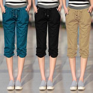 Женские брюки Брюки чуть выше щиколотки Широкие штанины Городской стиль Тонкая модель