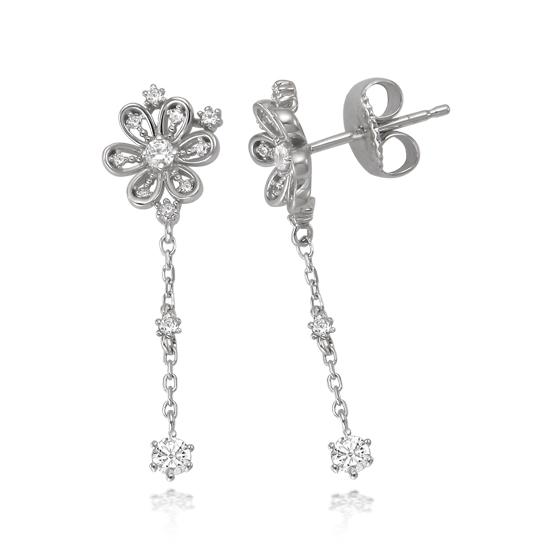 韩国代购 少女时代代言J.estina 银 镶钻 花朵 耳钉/耳环/耳坠