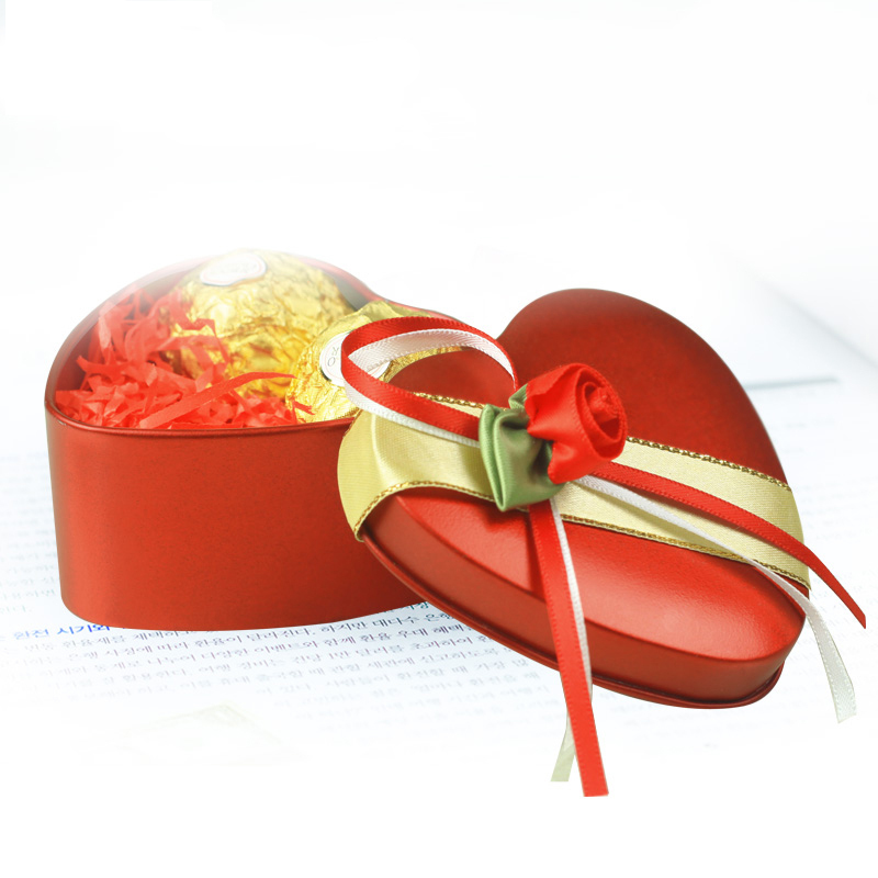 创意2013 韩式 结婚 马口铁 手工个性定制 心形喜糖盒子铁盒 红色