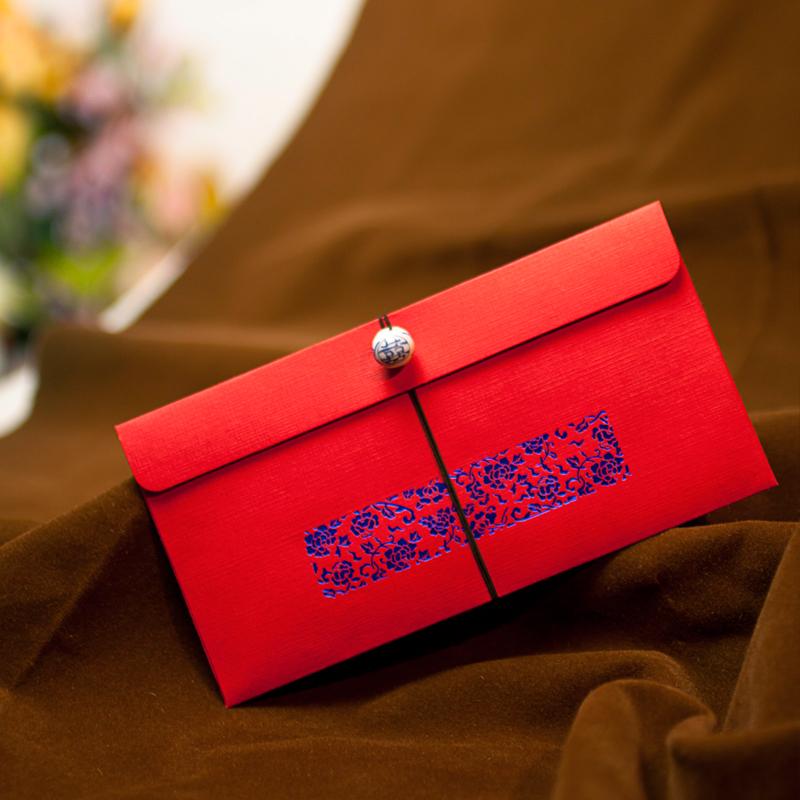 文弘 花开富贵系列中式红包 喜事封结婚红包袋 红包结婚创意HB01
