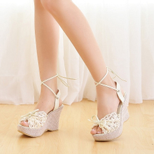 2013 summer new sandals bohemian lace high heels flat bottom waterproof thick crust muffin wedges