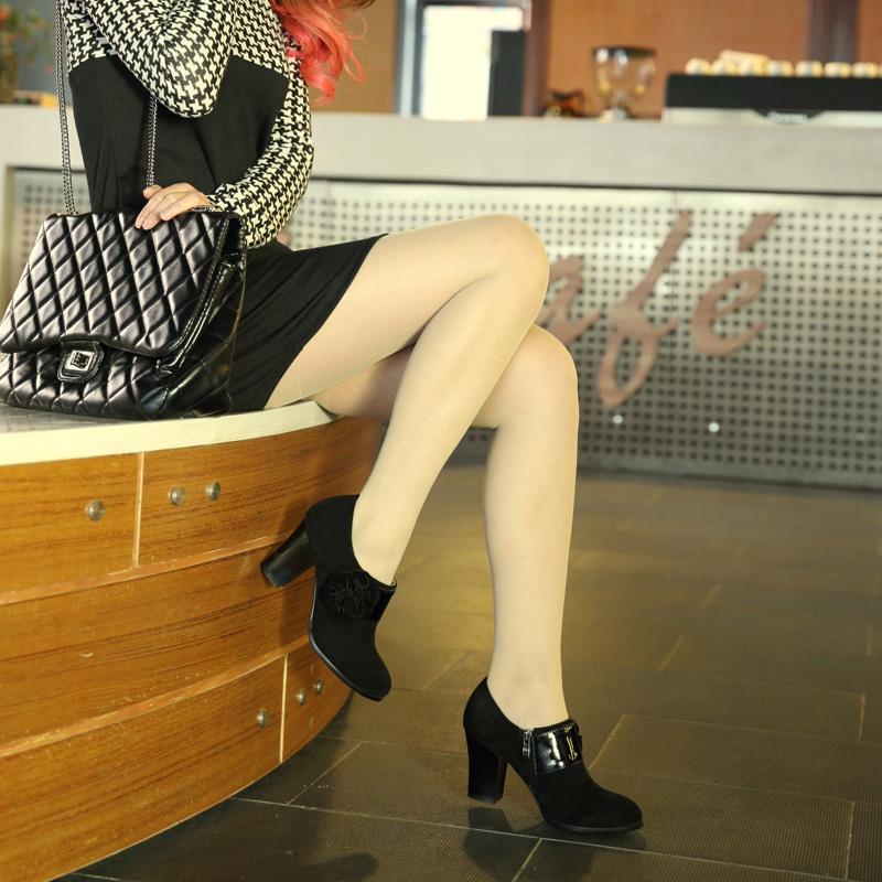 欧美 高跟/浓情漫宇 欧美优雅花朵 黑色棕色磨砂牛皮单鞋粗跟高跟低帮鞋