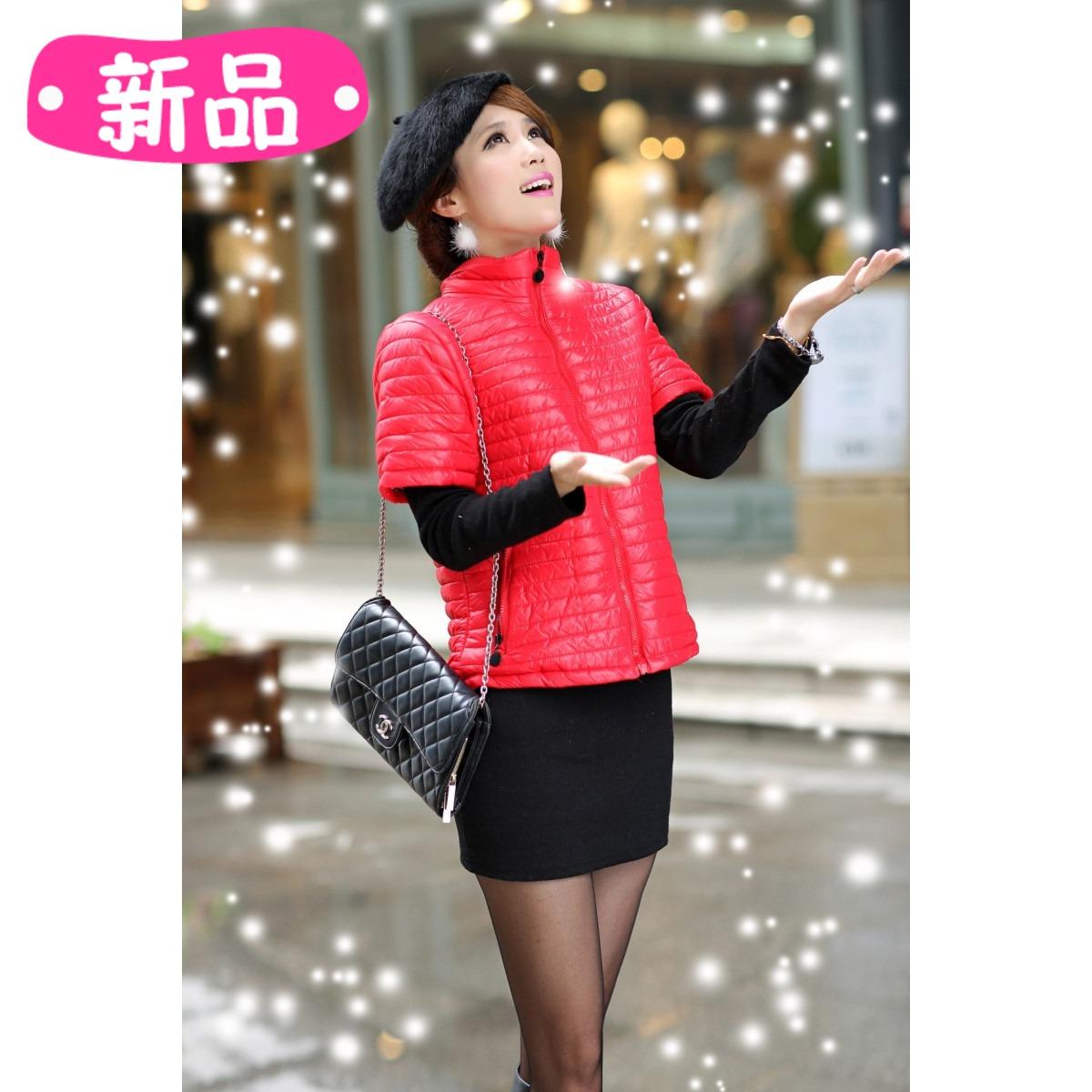 Женская жилетка Новая Корейская версия пуховыми одеялами, хлопок короткие рукава куртка женщин Зимняя мода жилеты дамы Половина рукав малых рукавов пальто жилет