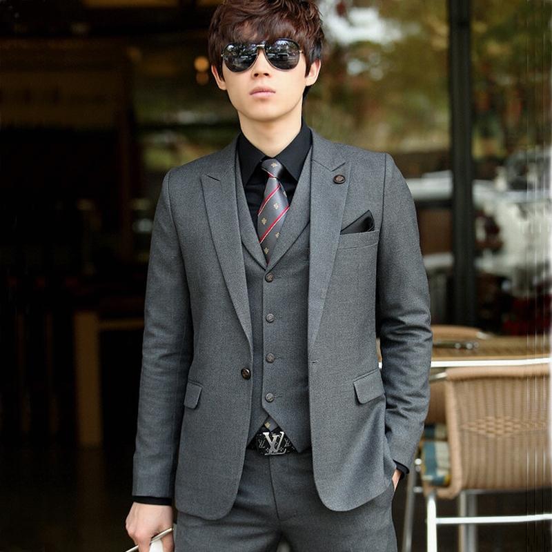 新郎伴郎结婚礼服潮男士韩版修身小西服套装 男式休闲三件套西装