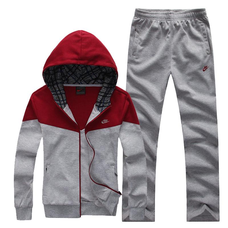 Спортивный костюм Nike 9905 Для мужчин Длинные рукава (рукава ≧ 58см) Воротник с капюшоном Брюки ( длинные ) Для спорта и отдыха Контрастные цвета, Логотип бренда, Рисунок, Надпись, Вышивка