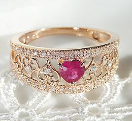 【日本直送】18k金镶嵌大粒心形红宝石0.35ct玫瑰金戒指 附证书