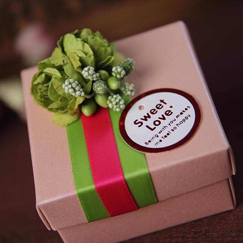 三生石欧式珠光喜糖盒子 成品绿色小花 创意婚庆包装 个性定制