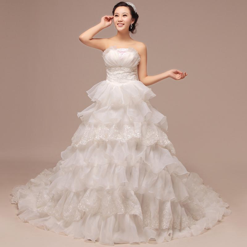 新款岁迪新娘时尚婚纱结婚季 高腰修身抹胸亮片装饰绑带大拖尾婚纱礼服