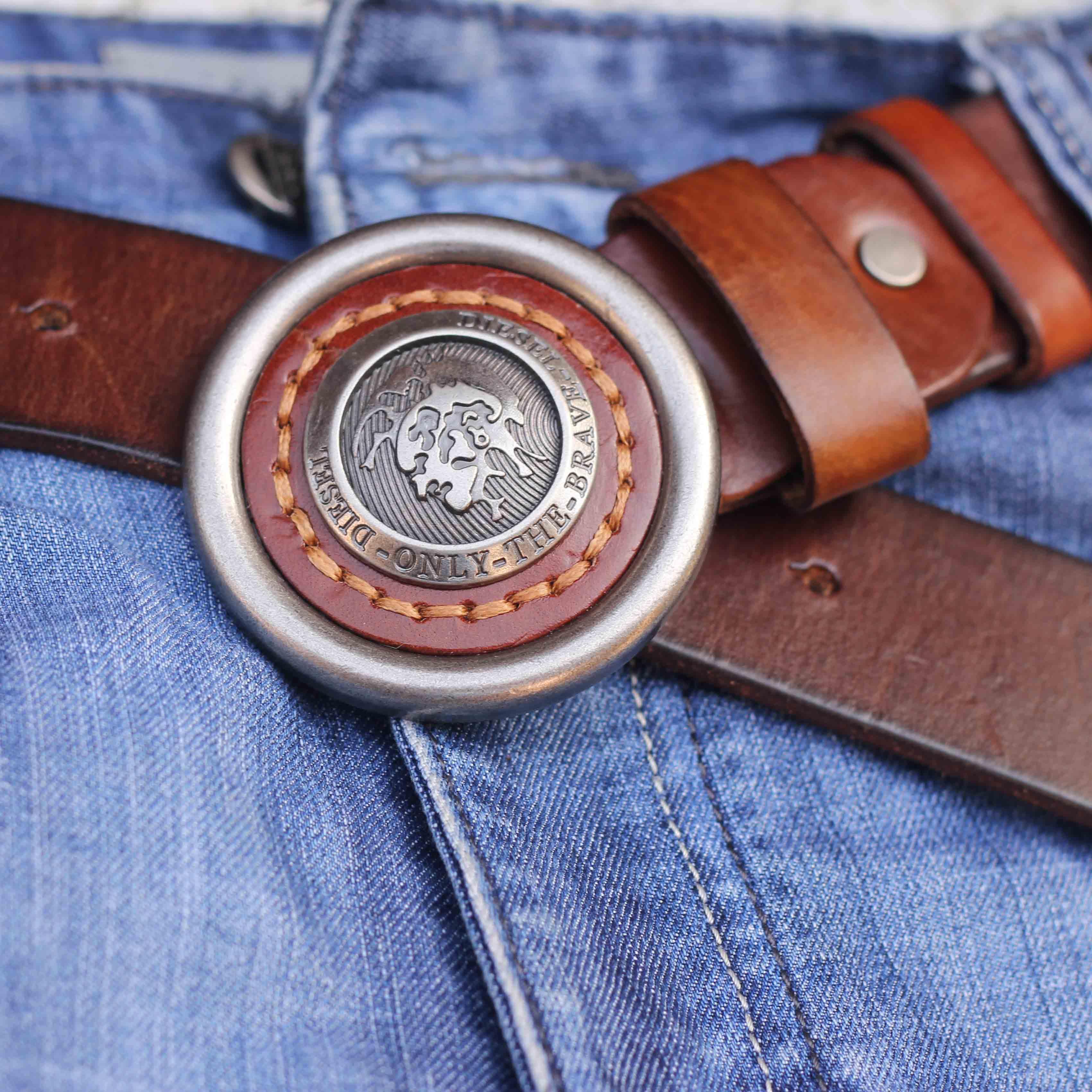 Ремень Дизель Мужская свинца в гладкая кожа пряжки классический начальника внешней торговли кожаный ремень мужской ремень