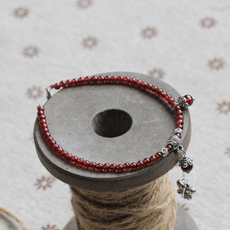 天然手工石榴石红玛瑙脚链 美容养颜 夏季款