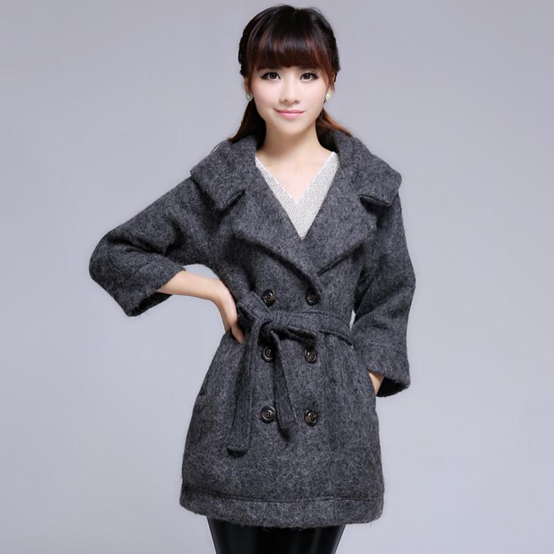 2013京东商城秋冬衣新款女装森马风格扣纽系带休闲修身长袖厚外套