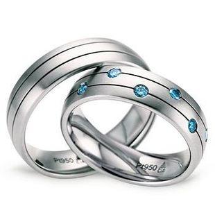美国个性化设计定制婚戒男女套装PT950铂金蓝