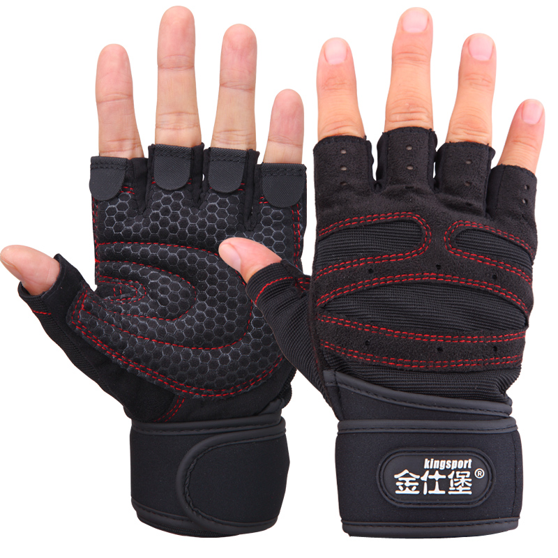 Glove men's women's Jin Shibao fitness half sweat-absorbing sports gloves long dumbbell wrist training skid