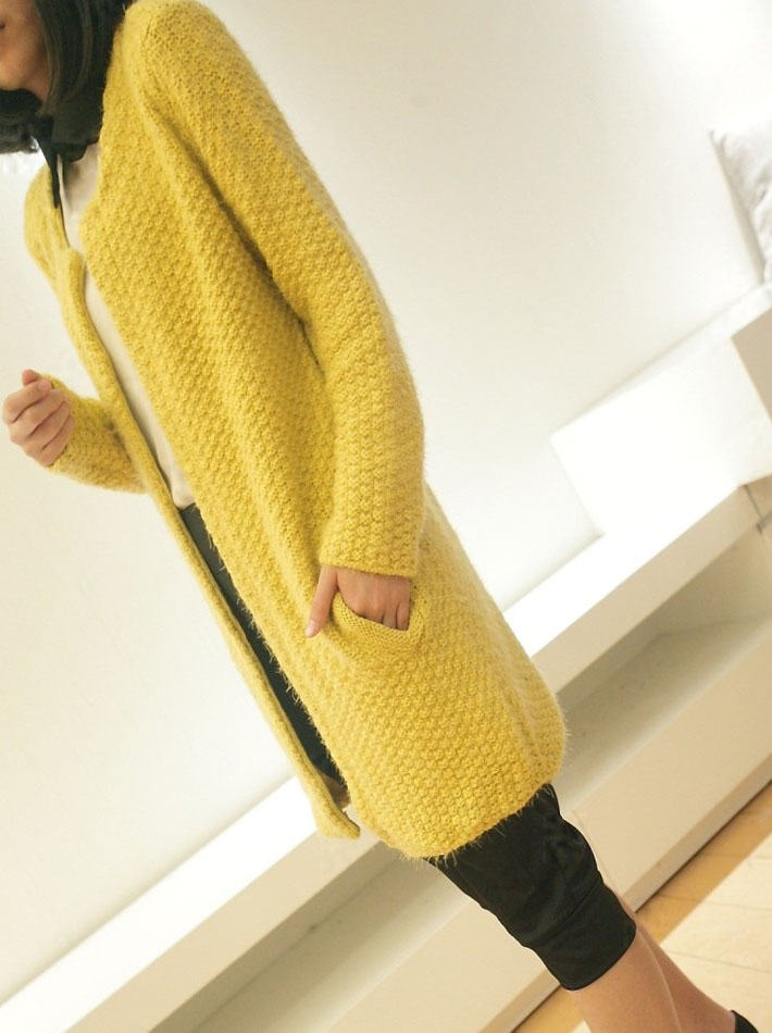 2013 spring new Korean discounts every day in a simple round neck long sleeve long mohair Cardigan jacket
