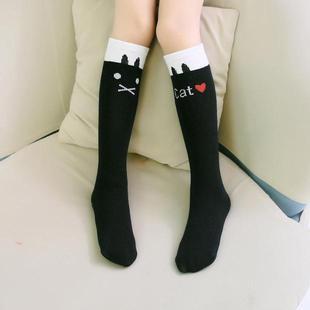 韩国女童中筒袜 儿童长筒袜 过膝 纯棉 春秋款宝宝碎花边袜子批发