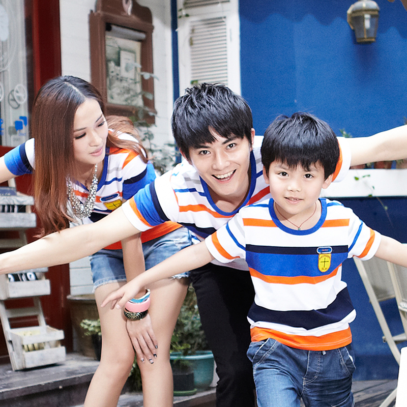 Blueskywheat Parent-child 2014 New summer short sleeve T shirt Family stripe  Taobao Agents
