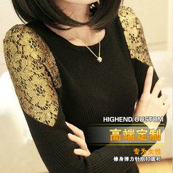 2013新款女装春装甜美修身蕾丝长袖打底衫中长款韩版毛衣女针织衫