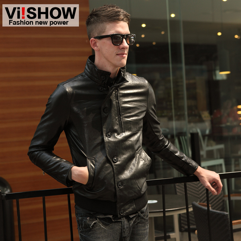 Viishow2013 spring new motorcycle leather men's Western wind single breasted collar slim fit leather jacket coat