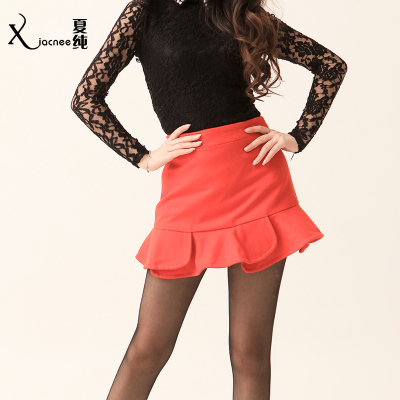 Free shipping 2014 autumn and summer tide models pure lotus petal skirt package hip was thin woolen skirts short skirt
