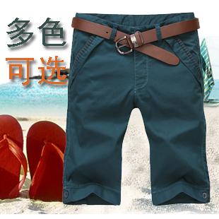 潮男士七分裤韩版修身男装夏季裤子天蓝色时尚男休闲中裤薄款布裤