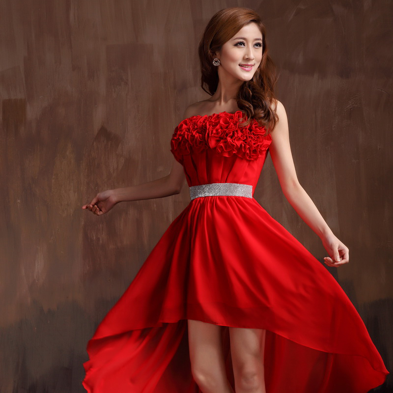 最新款大红色结婚晚礼服 前短后长连衣裙 伴娘小礼服