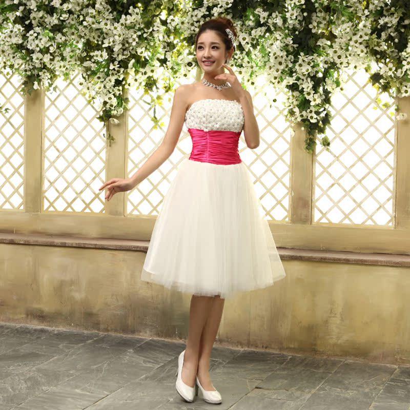 新款2014夏季短款拉链伴娘礼服宴会晚礼服红色新娘敬酒服50