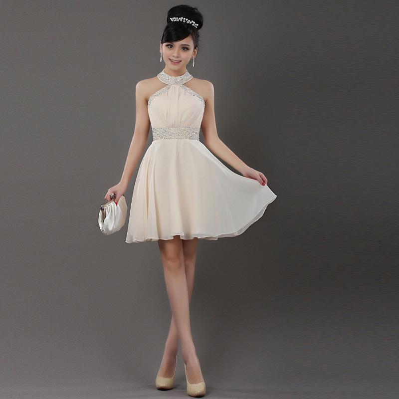 2013新款小礼服裙新娘装伴娘服挂脖礼服结婚敬酒服晚礼服70