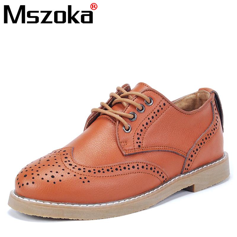 Демисезонные ботинки Mszoka Башмаки Для отдыха Верхний слой из натуральной кожи Круглый носок Шнурок Весна и осень