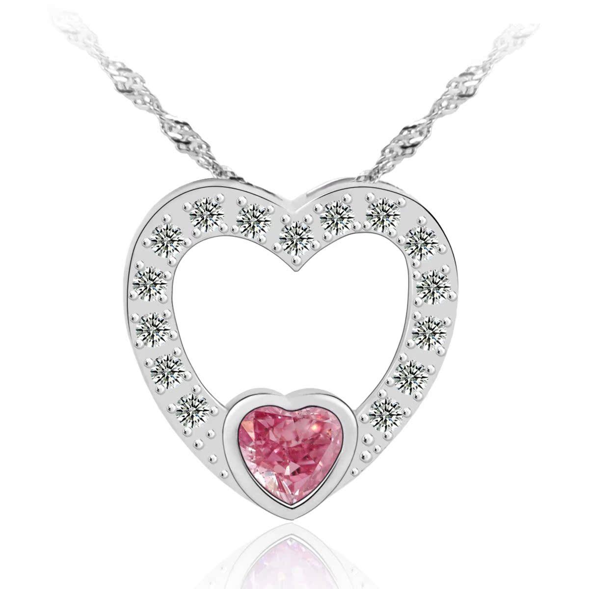 根号 925纯银项链女 短款 锁骨银首饰品 生日情人节礼物 粉色爱恋