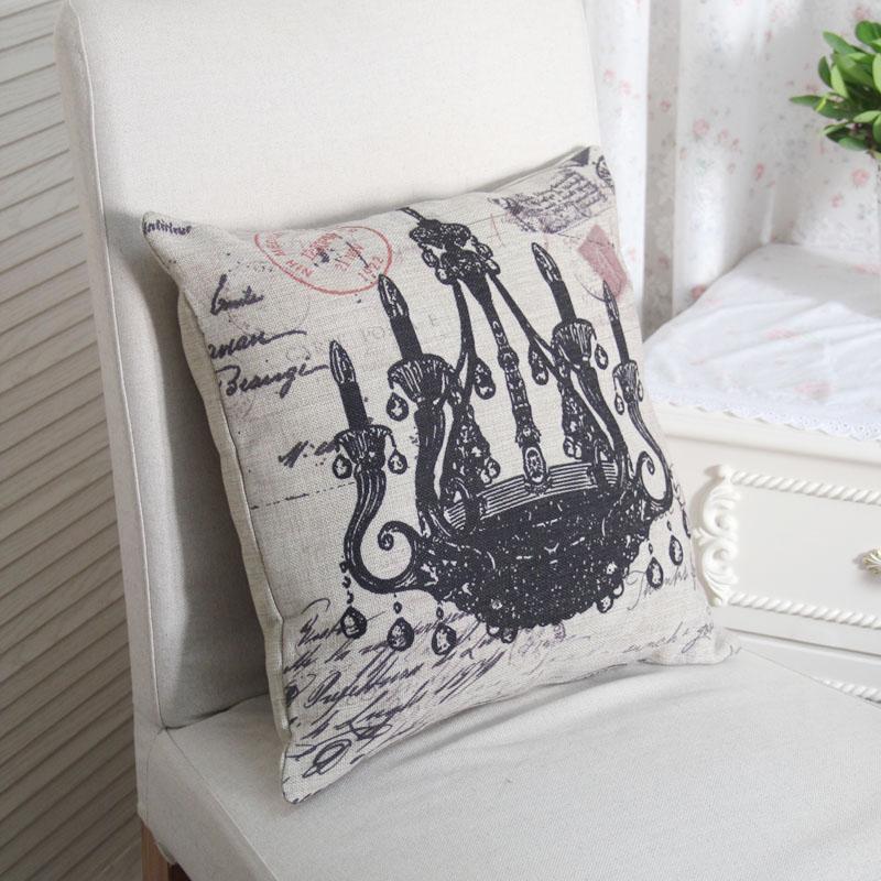 美式乡村田园风格 复古水晶吊灯沙发靠垫/抱枕/靠枕 北欧宜家图片