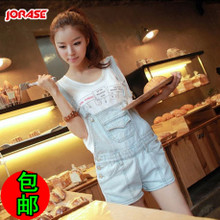 Summer overalls female Korean version of the influx lovely loose denim strap shorts large size denim shorts piece shorts