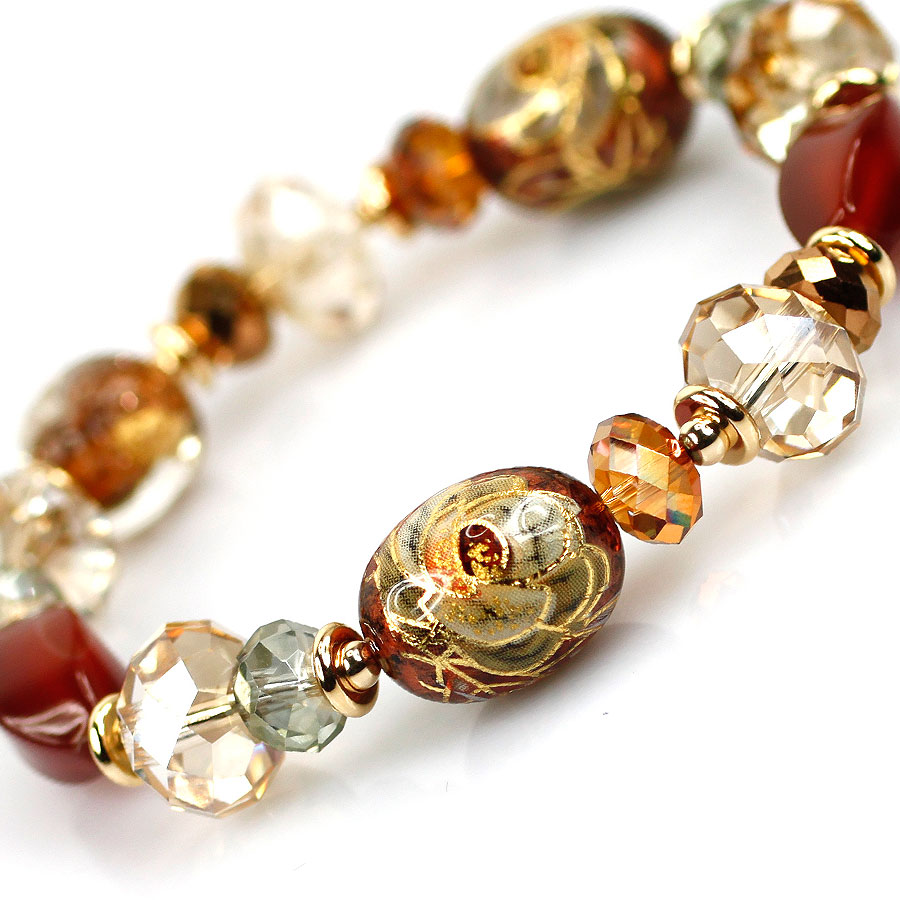 彩绘品首饰水晶手链女金色玛瑙珠人造糖果串珠色/a彩绘风今晨7020图片
