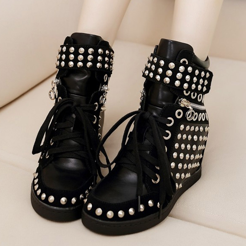 Velcro rivet punk style leather high-top shoes increased the slope with high-heeled shoes shoes Winter shoes tide