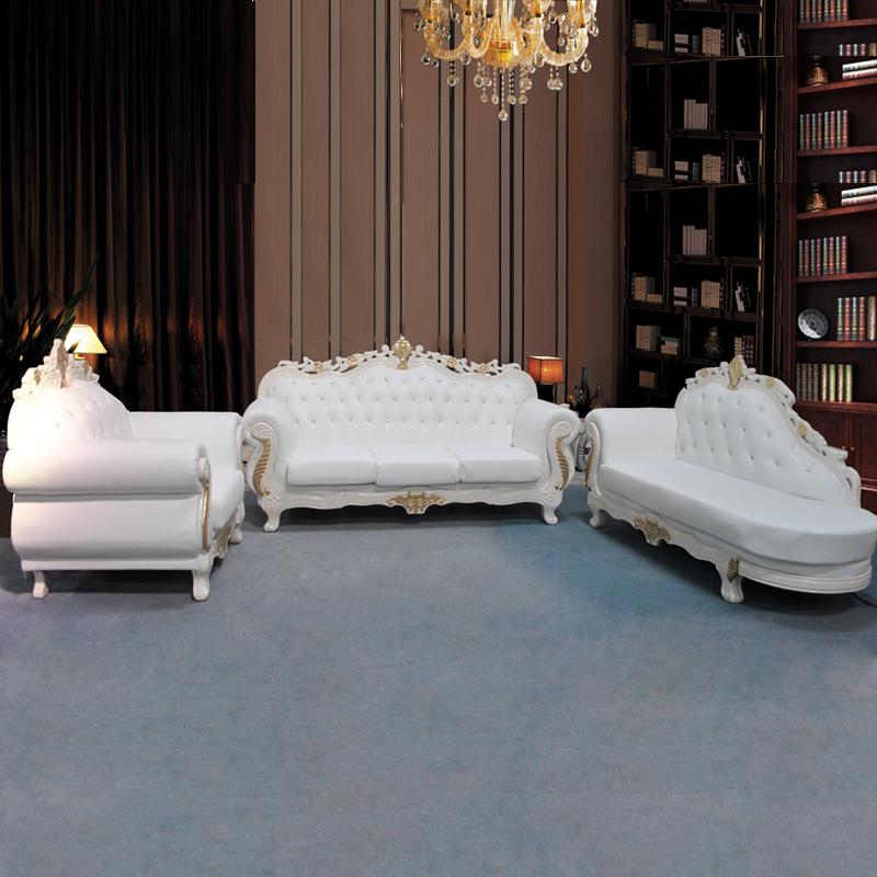 Кожаный диван Пакет почты стиль кожаный диван диван диван диван твердой древесины рук Резные диван Европейский стиль
